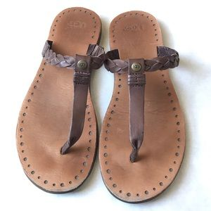 UGG Brown Braided Leather Flip-Flop Sandals